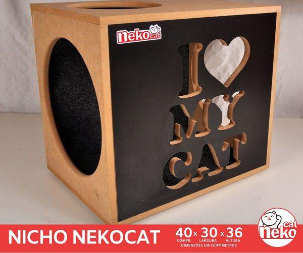 Kit 02 Nichos Gatos c/Carpete + Ponte + 04 Prateleiras c/Carpete - Frente Preta