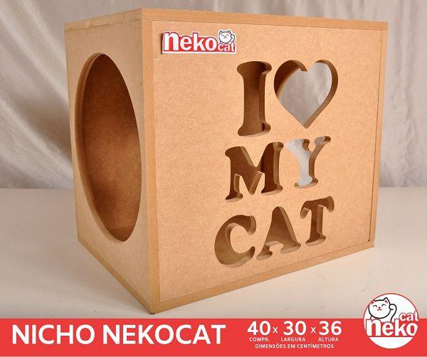 Kit 02 Nichos Gatos - Mdf Cru