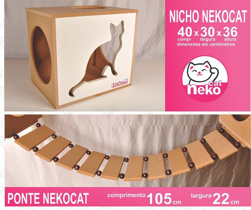 Kit 02 Nichos Gatos + Ponte + 02 Prateleiras + 02 Arranhadores Tubular - Frente Branca