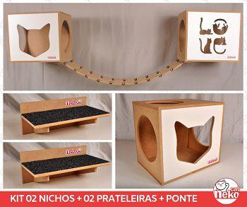 Kit 02 Nichos Gatos + Ponte + 02 Prateleiras c/Carpete - Frente Branca