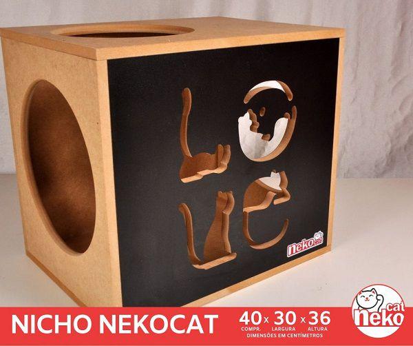 Kit 02 Nichos Gatos + Ponte + 02 Prateleiras c/Carpete - Frente Preta
