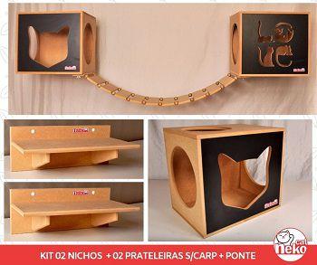 Kit 02 Nichos Gatos + Ponte + 02 Prateleiras s/Carpete - Frente Preta
