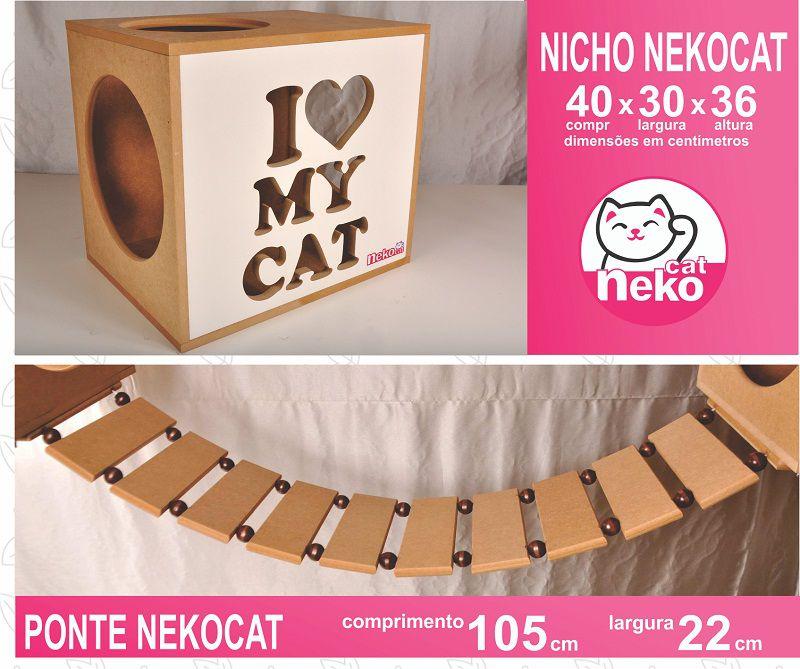 Kit 02 Nichos Gatos + Ponte + 04 Prateleiras + 01 Arranhador Tubular - Frente Branca