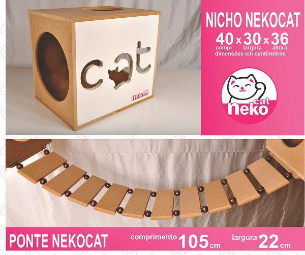 Kit 02 Nichos Gatos + Ponte + 04 Prateleiras c/Carpete + 01 Arranhador Tubular - Frente Branca