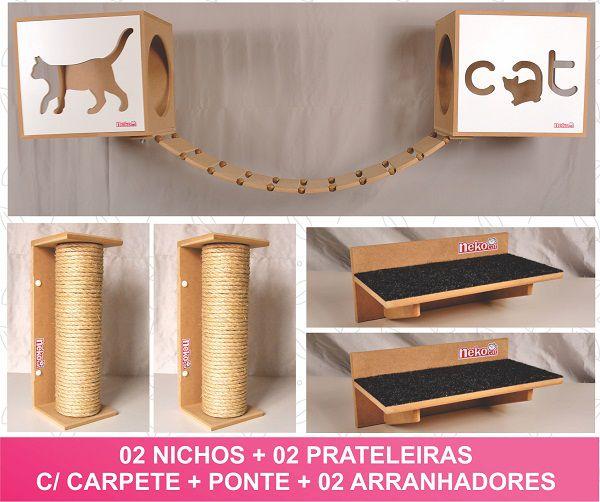 Kit 02 Nichos Gatos + Ponte + 04 Prateleiras c/Carpete + 02 Arranhadores Tubular - Frente Branca