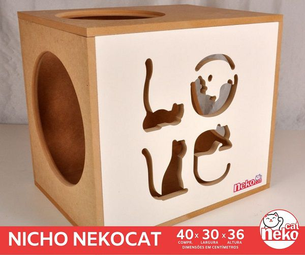Kit 02 Nichos Gatos + Ponte + 04 Prateleiras c/Carpete - Frente Branca