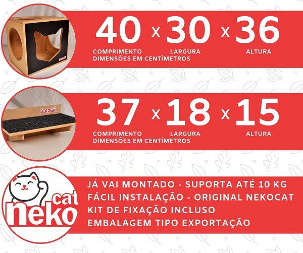 Kit 02 Nichos Gatos + Ponte + 04 Prateleiras c/Carpete - Frente Preta