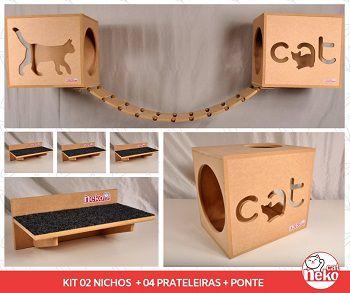 Kit 02 Nichos Gatos + Ponte + 04 Prateleiras c/Carpete - Mdf Cru