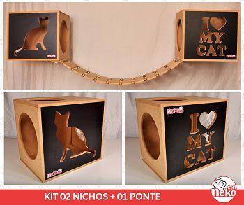Kit 02 Nichos Gatos + Ponte - Frente Preta