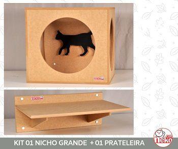 Kit Nicho Grande Gatos + 01 Prateleira sem Carpete - Mdf Cru