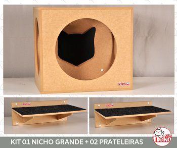 Kit Nicho Grande Gatos + 02 Prateleira c/Carp - Mdf Cru