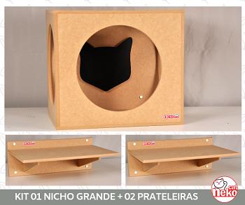 Kit Nicho Grande Gatos + 02 Prateleira sem Carpete - Mdf Cru