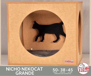 Kit Nicho Grande Gatos c/Almofada + 01 Prateleira c/Carp - Mdf Cru