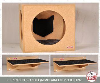 Kit Nicho Grande Gatos c/Almofada + 02 Prateleira c/Carp - Mdf Cru