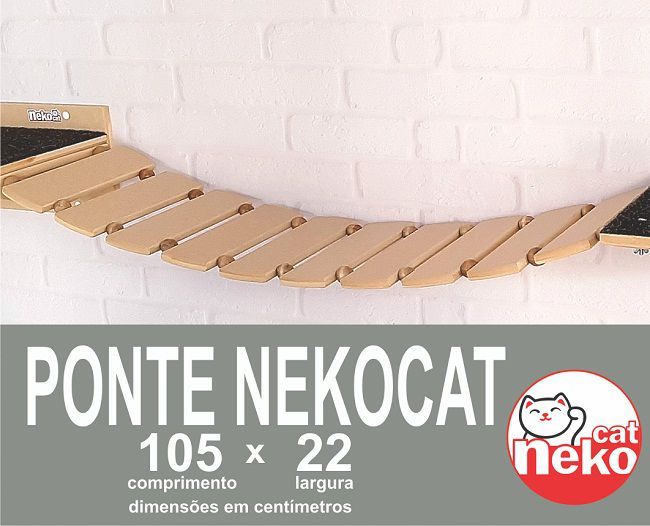 Kit Play Gatos 2 Prateleiras Grandes + Ponte Nekocat Cj 3pcs
