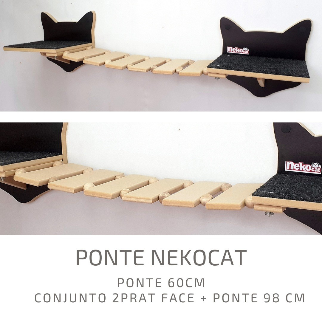 Kit Play Gatos Nicho Almof Step Face Cat Ponte Arranh 6pcs