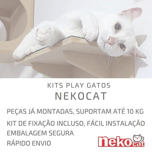 Kit Play Gatos Nicho Almofada Prat Carpete Ponte Cj 07 Pcs