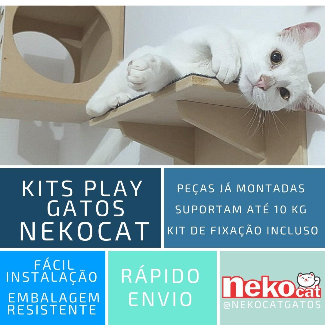 Kit Play Gatos Prateleiras Step Face Cat Ponte Cj 5 Pcs