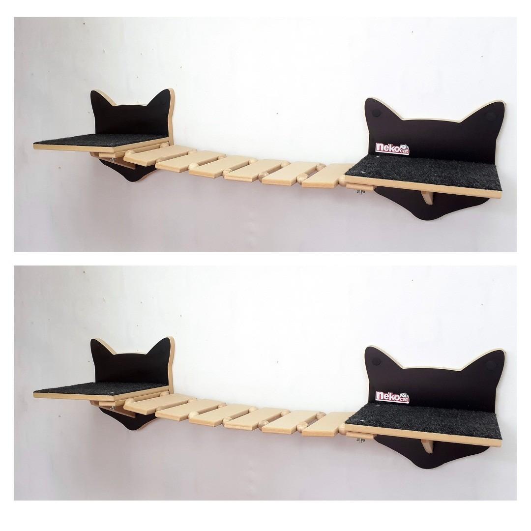 Kit Play Gatos Prateleiras Step Face Cat Ponte Cj 6 Pcs