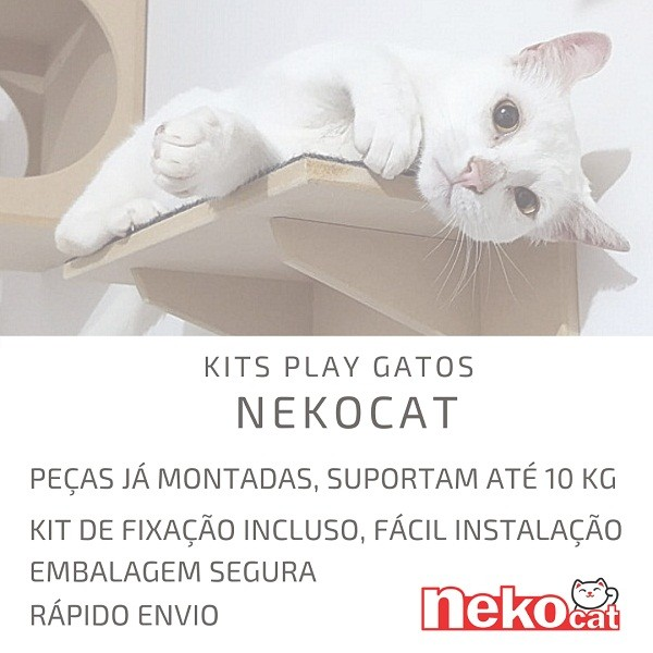 Nicho Gatos Grandes Com Almofada Frente Branca Nekocat