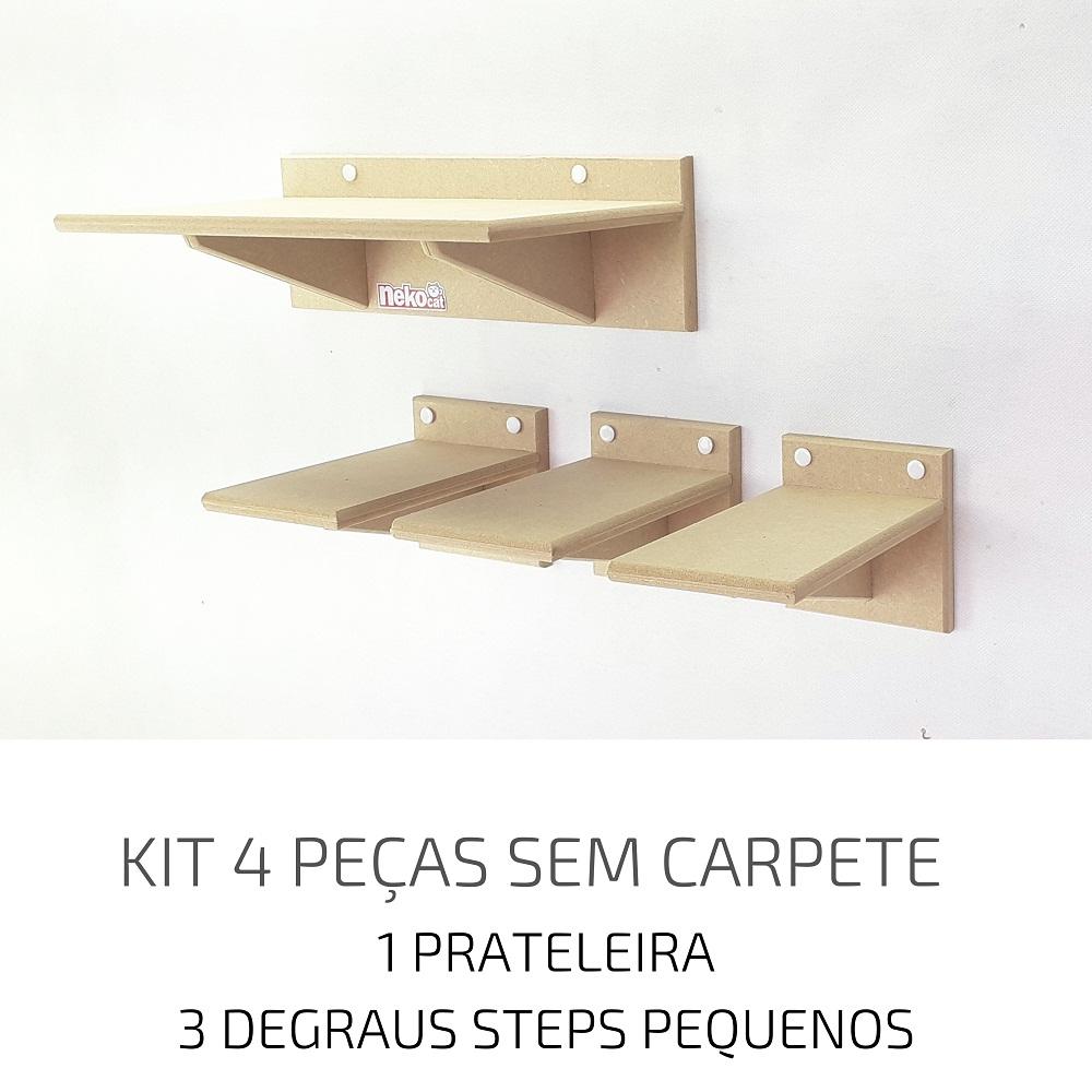 Playground Gatos Prateleiras e Degraus Mdf NekoCat Kit 04pcs