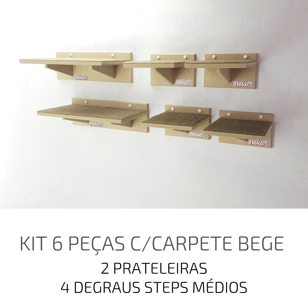 Playground Gatos Prateleiras e Degraus Mdf NekoCat Kit 06pcs