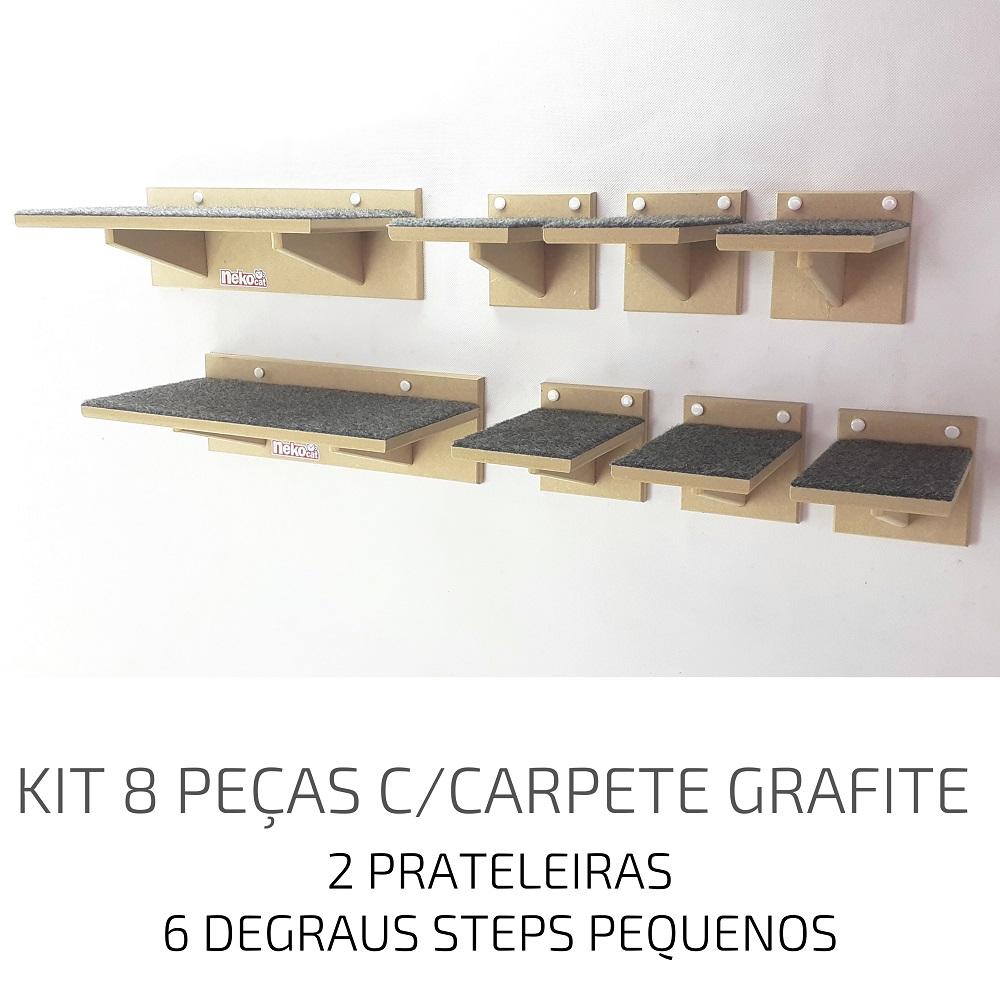 Playground Gatos Prateleiras e Degraus Mdf NekoCat Kit 08pcs