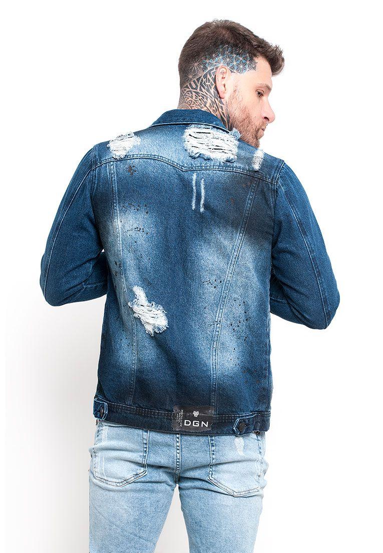 32e59faf1 ... Jaqueta Jeans Masculina detalhe preto - DGN JEANS ...
