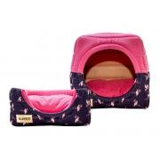 Cama Iglu e Toca Para Cachorro Luppet Luxo Azul Flamingo