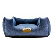Cama Quadrada para Cachorro ou Gato Luppet Luxo Azul Petróleo