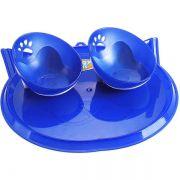 Comedouro para Gatos Duplo com Bandeja Azul