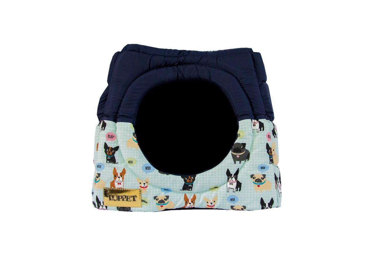 Cama Iglu e Toca Para Cachorro Impermeavel Luppet Azul Cachorrinho