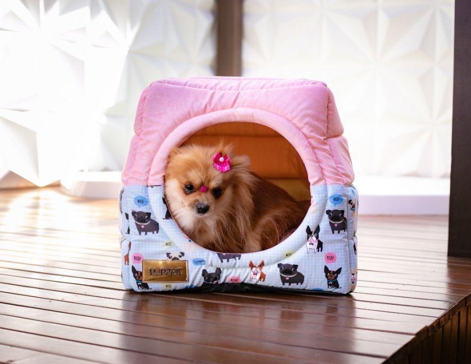 Cama Iglu e Toca Para Cachorro Impermeavel Luppet Rosa Cachorrinho
