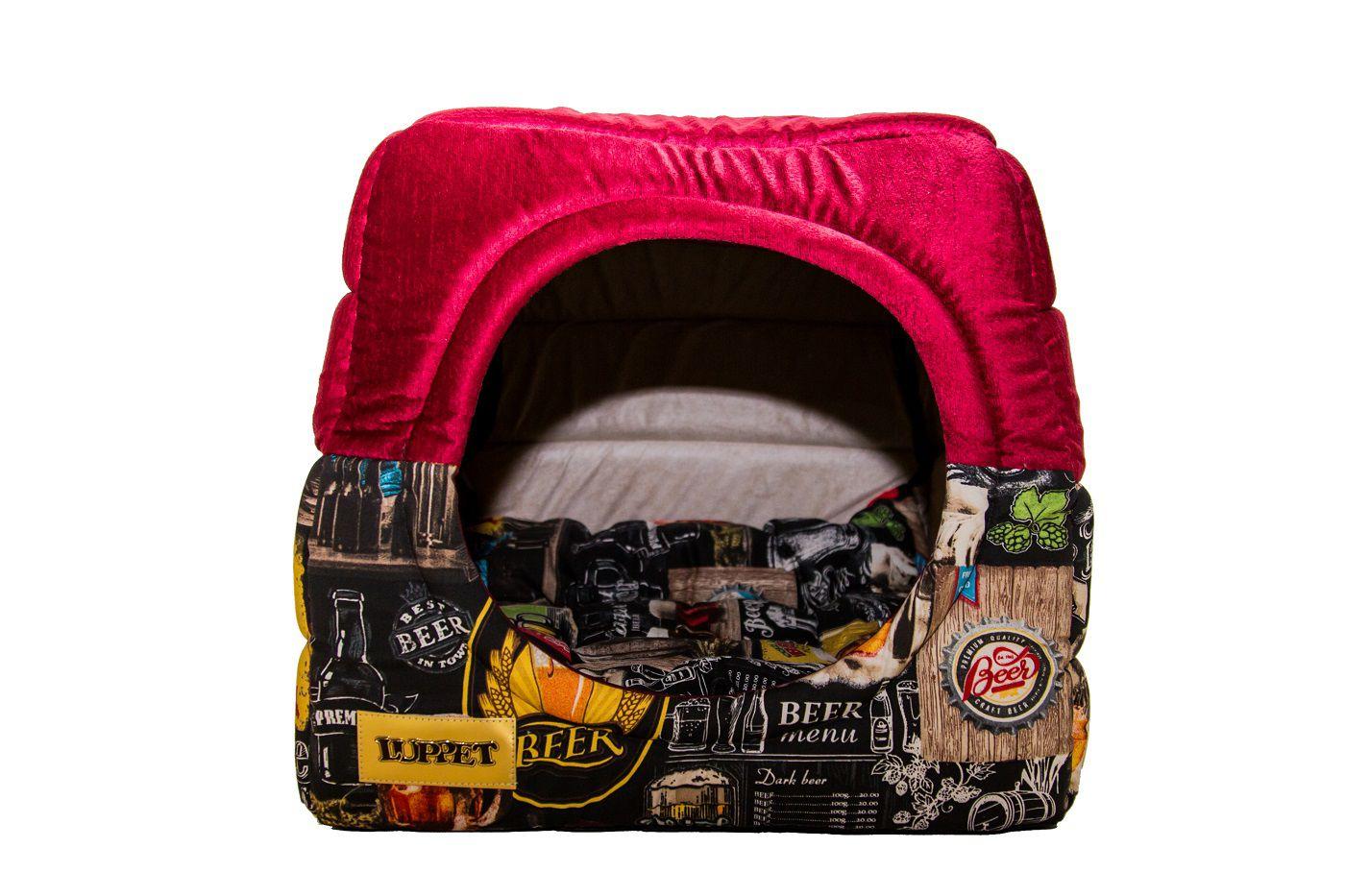 Cama Iglu e Toca Para Cachorro Impermeavel Luppet Vermelho Beer