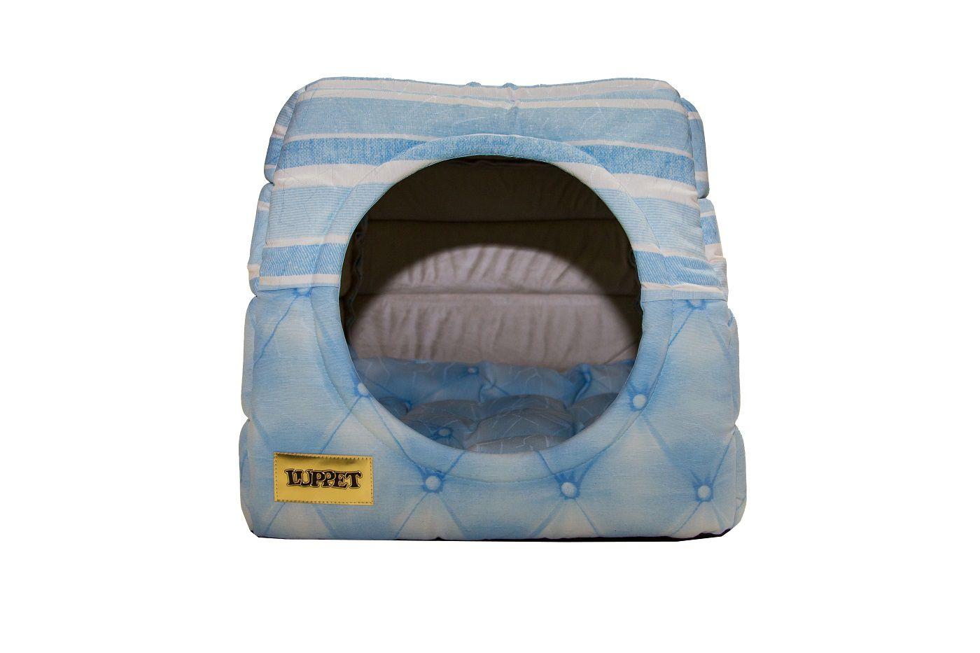 Cama Iglu e Toca Para Cachorro Luppet Azul Botone Super Luxo