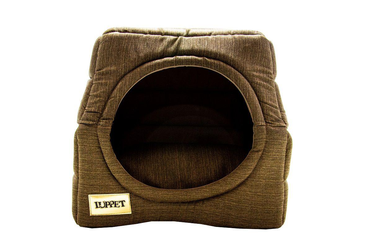 Cama Iglu e Toca Para Cachorro Luppet Caramelo Super Luxo