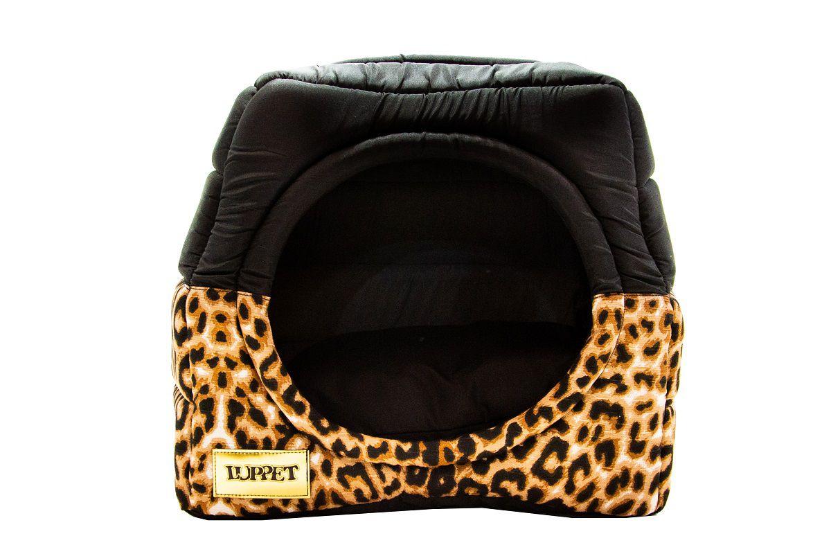 Cama Iglu e Toca Para Cachorro Luppet Leopardo Super Luxo