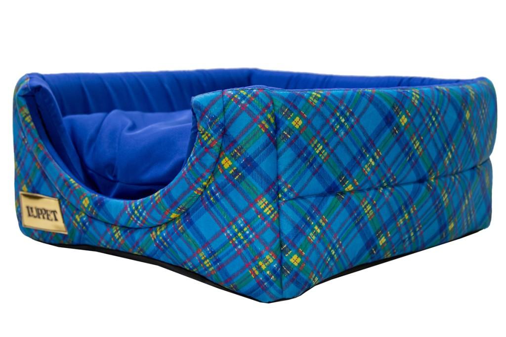 Cama Iglu e Toca Para Cachorro Luppet Luxo Azul Xadrez