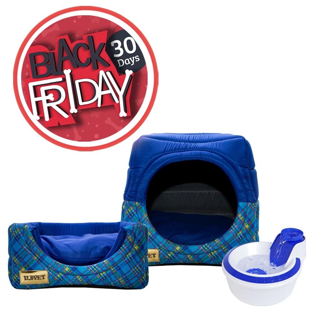 Cama Iglu e Toca Para Cachorro Luppet Luxo Azul Xadrez + Bebedouro Fonte