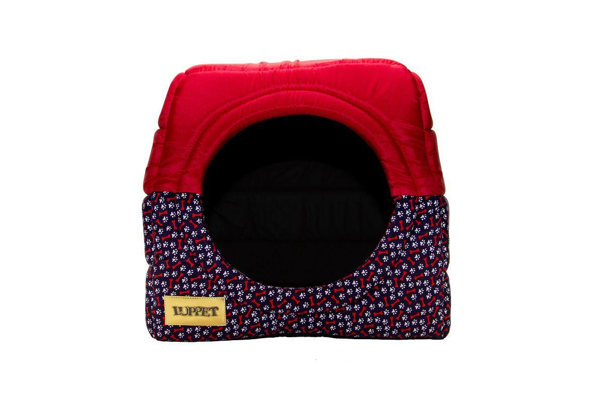 Cama Iglu e Toca Para Cachorro Luxo Luppet Vermelho Ossinho