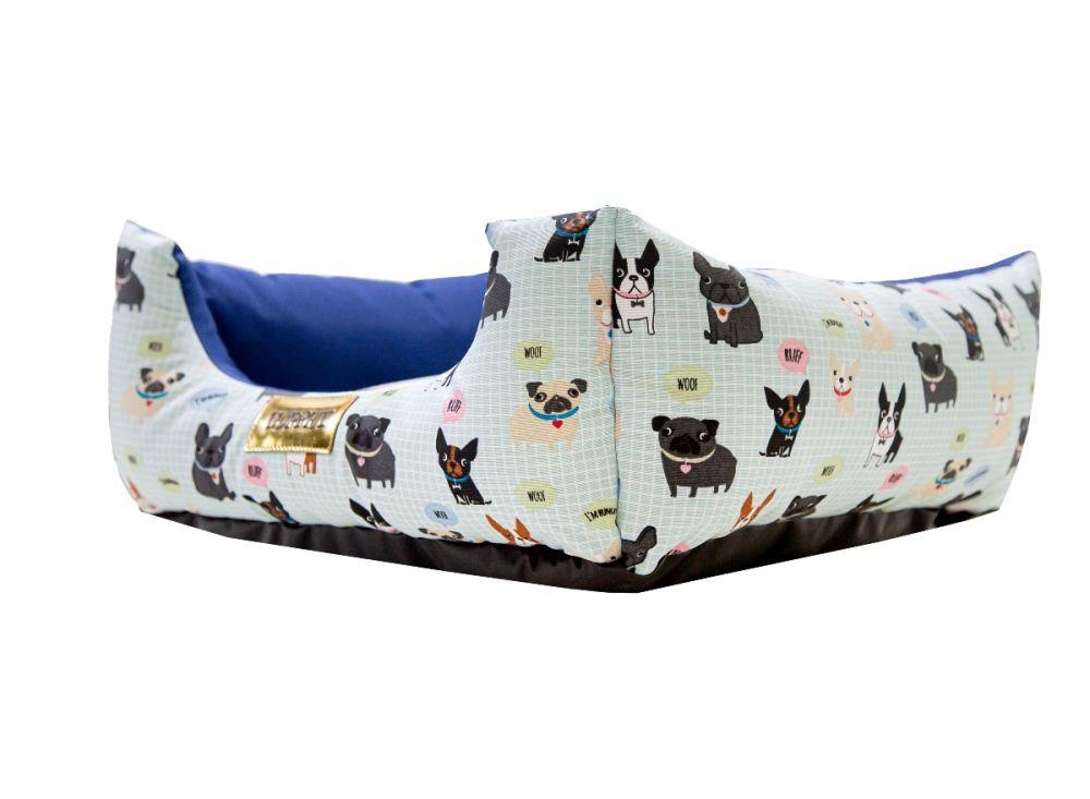 Cama para Cachorro Quadrada Impermeavel Luppet Azul Cachorrinho