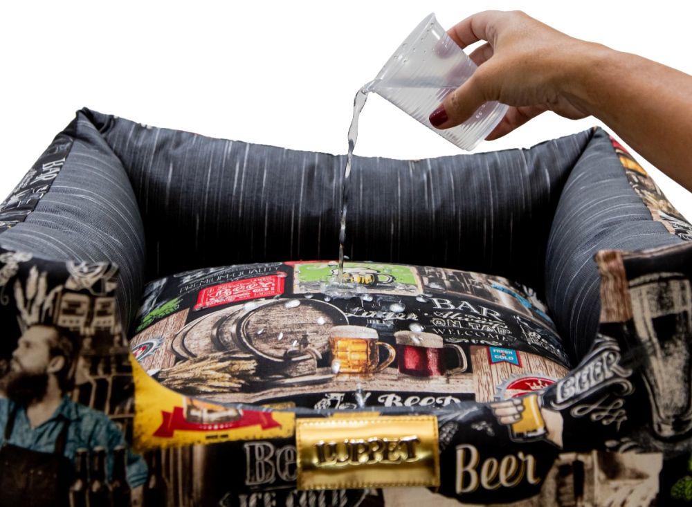 Cama para Cachorro Quadrada Semi Impermeável Luppet Preto Beer