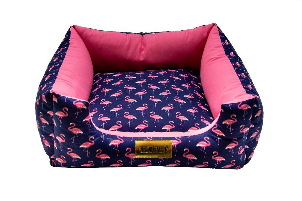 Cama Quadrada para Cachorro ou Gato Luppet Luxo Azul Flamingo