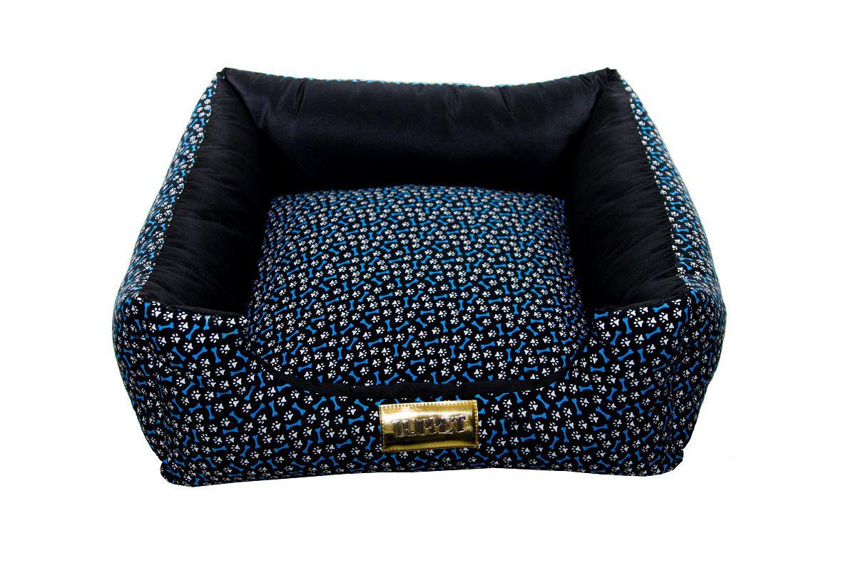 Cama Quadrada para Cachorro ou Gato Luppet Luxo Azul Ossinho