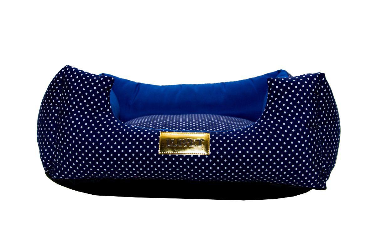 Cama Quadrada para Cachorro ou Gato Luppet Luxo Azul Poa