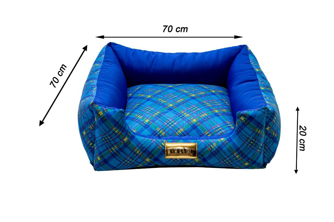 Cama Quadrada para Cachorro ou Gato Luppet Luxo Azul Xadrez