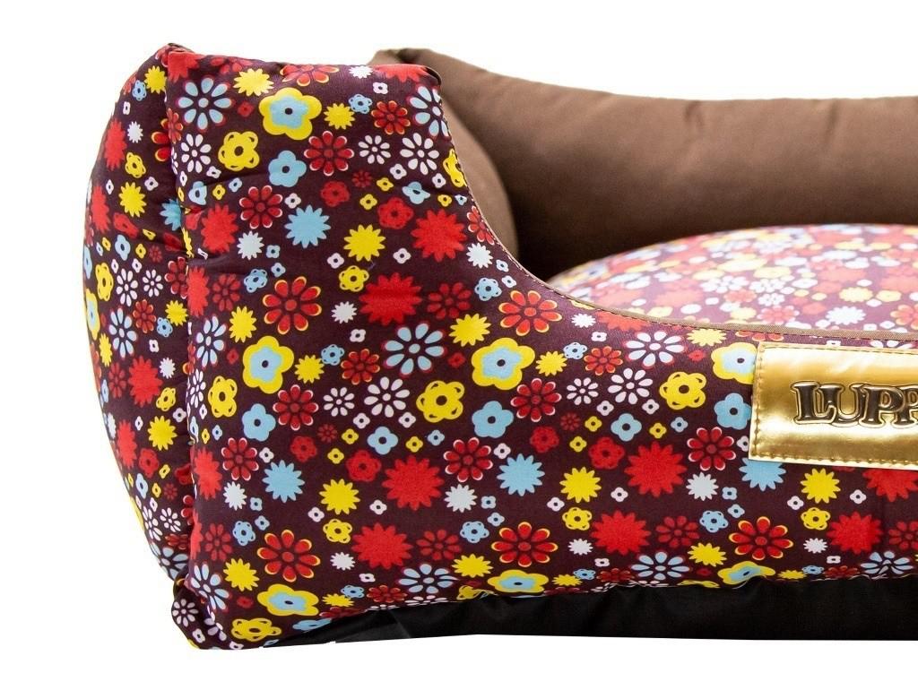 Cama Quadrada para Cachorro ou Gato Luppet Luxo Marrom Floral