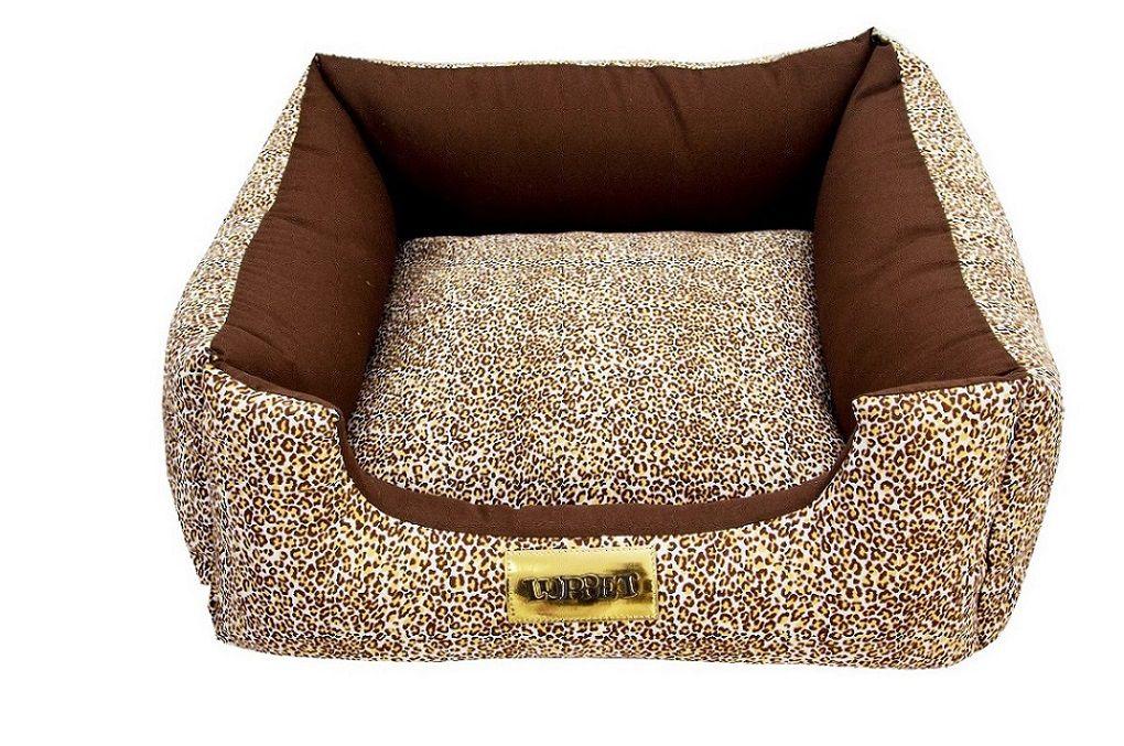 Cama Quadrada para Cachorro ou Gato Luppet Luxo Marrom Onça