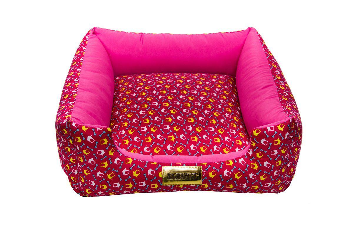 Cama Quadrada para Cachorro ou Gato Luppet Luxo Rosa Ossinho