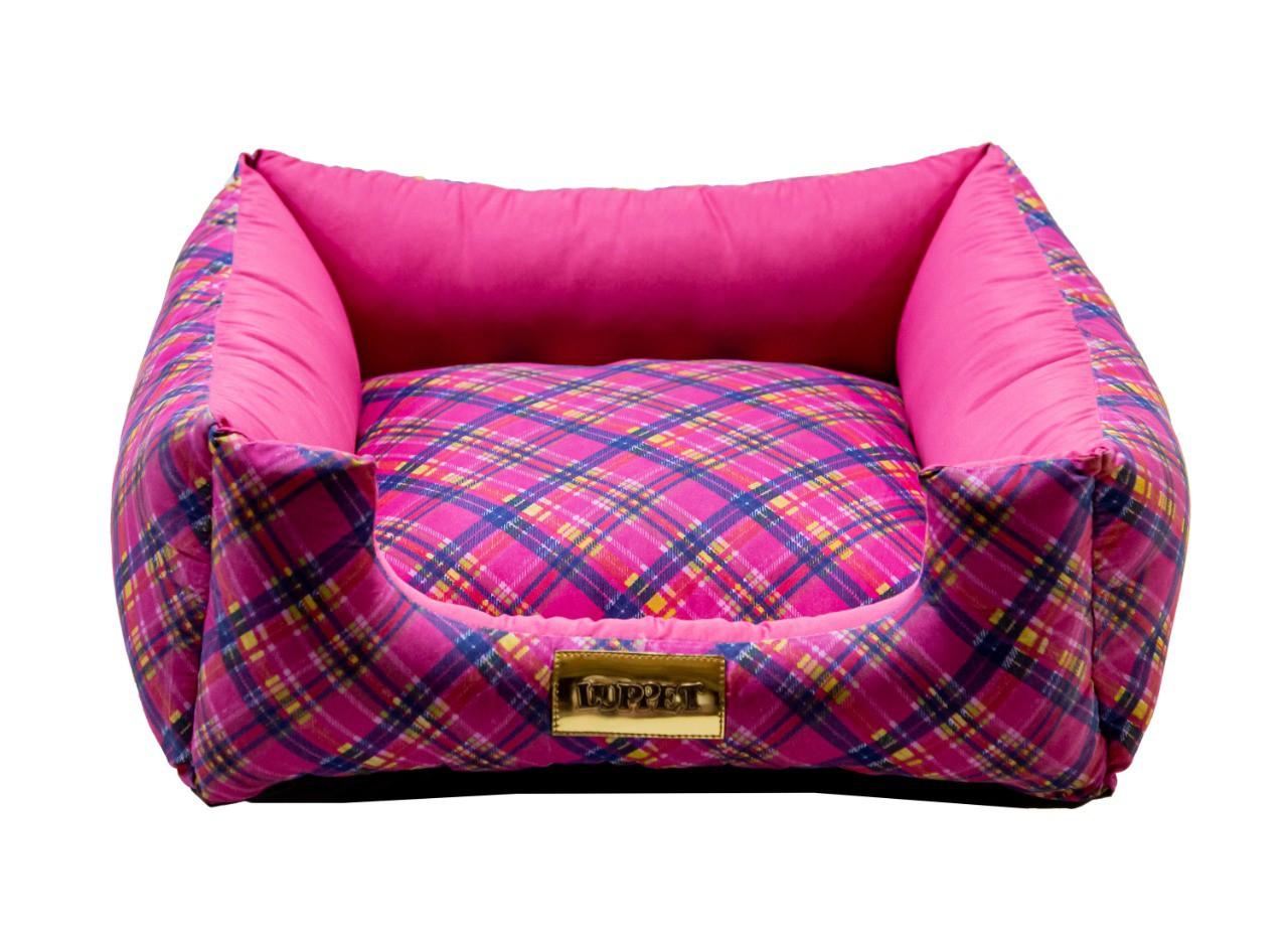 Cama Quadrada para Cachorro ou Gato Luppet Luxo Rosa Xadrez
